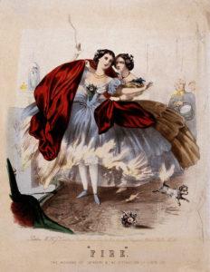 """""""Fuego."""" Los horrores de la crinolina y la destrucción de la vida humana. ca. 1860."""