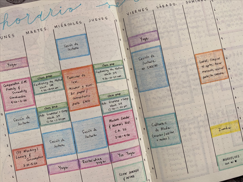 página de agenda con horario semanal