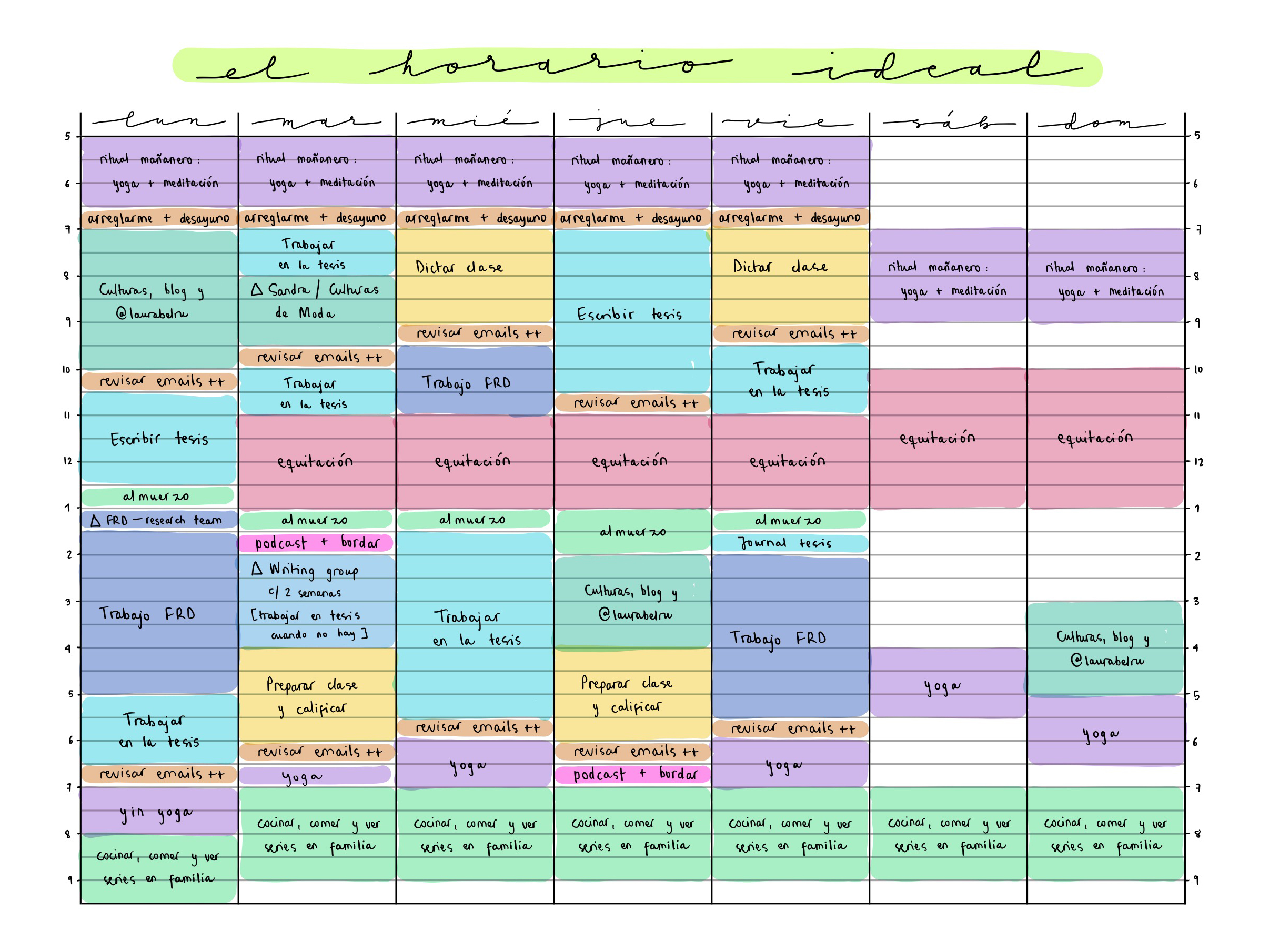 plantilla elaborar para un horario semanal con algunos elementos marcados en colores distintos